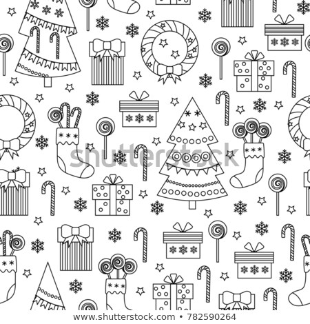 Stock photo: Christmas cookies flat line icons seamless pattern