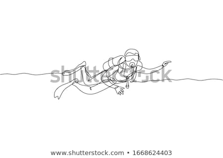 A simple sketch of a man scuba diving Stock photo © bluering