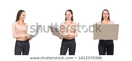 güzel · ofis · işçi · dizüstü · bilgisayar · yalıtılmış · beyaz - stok fotoğraf © elnur