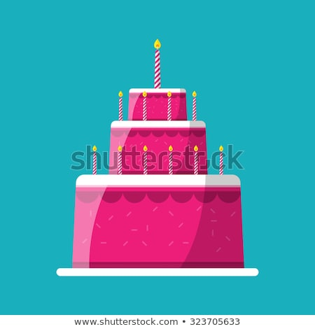 vector icon of pink birthday cake on a stand Stock photo © freesoulproduction