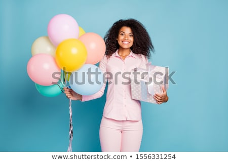 happy african american girl with balloons stock photo © neonshot
