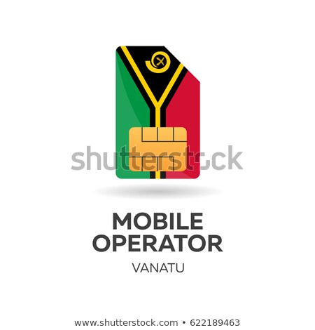 vanatu mobile operator sim card with flag vector illustration stock photo © leo_edition