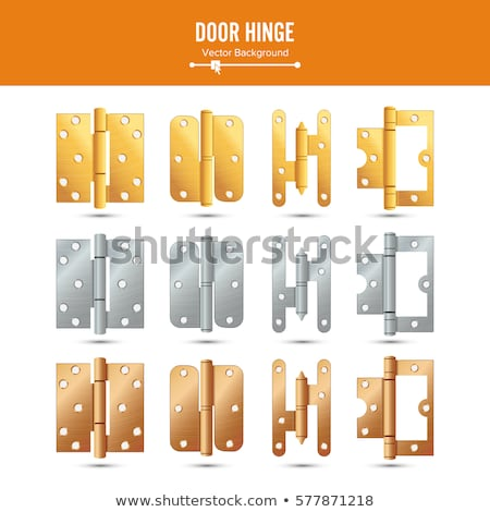 door hinge vector classic and industrial ironmongery isolated on white background simple entry doo stock photo © pikepicture