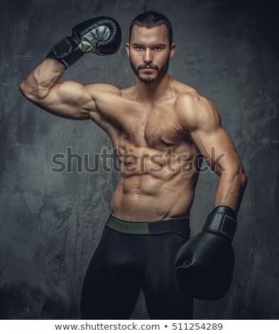 Półnagi człowiek rękawice szkolenia crossfit siłowni Zdjęcia stock © wavebreak_media