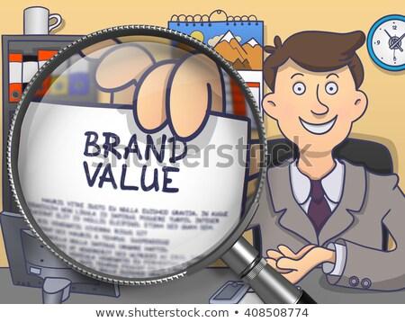 Merk waarde vergrootglas doodle zakenman vergadering Stockfoto © tashatuvango