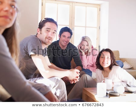 friends laughing in chalet living room Stock photo © IS2
