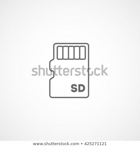 Stock fotó: Kártya · vonal · ikon · vektor · izolált · fehér