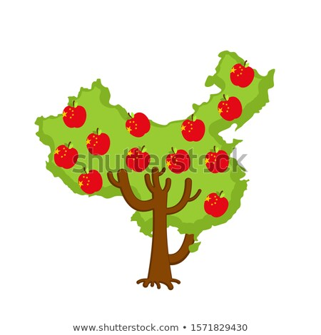 Patriotic apple tree China map. apples Chinese flag. National St Stock photo © popaukropa