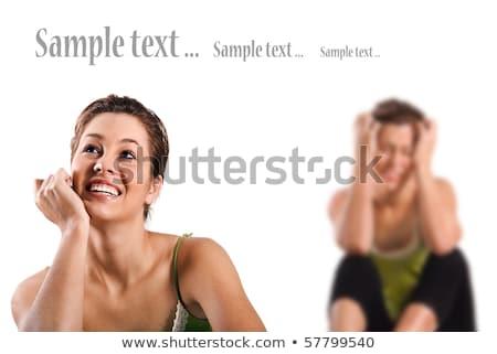 Ellentmondás boldog mosolyog boldogtalan lehangolt nő Stock fotó © tish1