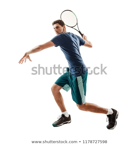 Man with tennis racket portrait Stock photo © IS2