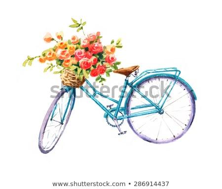 古い 描いた 自転車 花 ピンク 女性 ストックフォト © compuinfoto