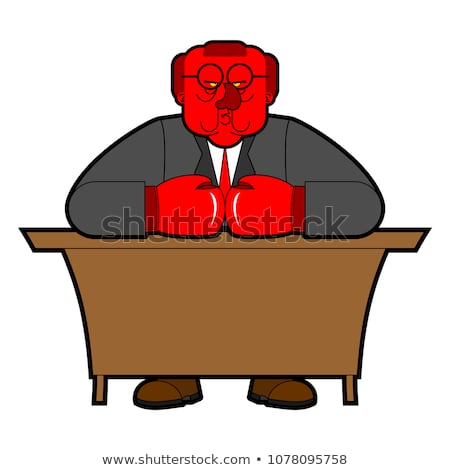 Angry boss in boxing gloves. Red honcho. Ferocious master Stock photo © popaukropa