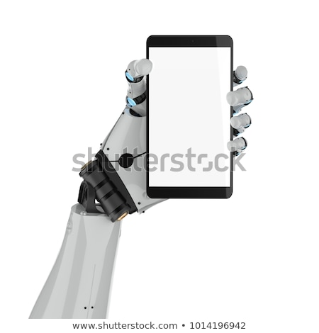 Cyborg hand and phone. Robot and gadget. Artificial Intelligence Stock photo © MaryValery
