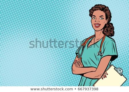 Pop art Afrika hemşire tıp sağlık Retro Stok fotoğraf © studiostoks
