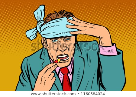 Stockfoto: Pop Art Man With Headache Takes A Pills