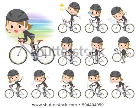 短い髪 黒 高い 女性 自転車 セット ストックフォト © toyotoyo