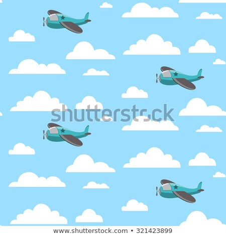 Seamless baby pattern with flying planes and clouds Stock photo © lemony
