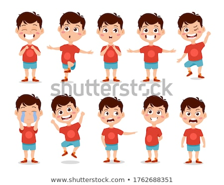 Teen Boy Vector. Animation Creation Set. Face Emotions, Gestures. Arab, Muslim. Emotional, Pose. Ani Stock photo © pikepicture
