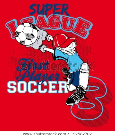 Grappig cartoon voetballer competitie vector kunst Stockfoto © vector1st