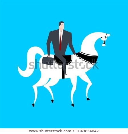 Businessman on horseback. Boss is rider. Vector illustration Stock photo © MaryValery