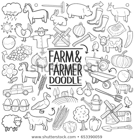 farm life   set of line design style vector illustrations stock photo © decorwithme