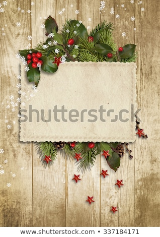 Happy Christmas Postcard With Firtree Stock photo © adamson