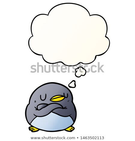 Stock fotó: Rajz · pingvin · gondolkodik · illusztráció · állat