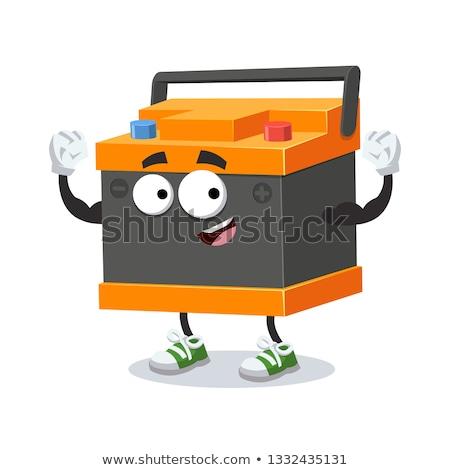 Foto stock: Amarelo · vermelho · bateria · desenho · animado · isolado · branco