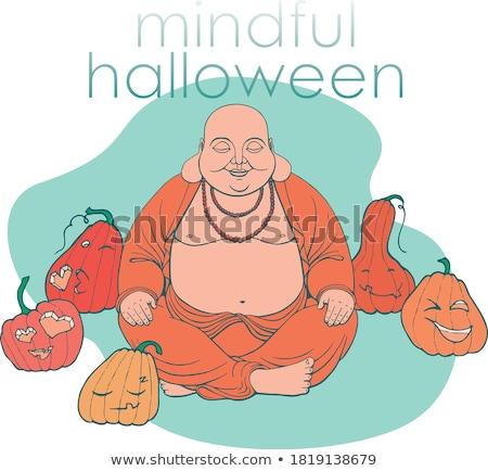 Pumpkins with different facial expressions Stock photo © colematt