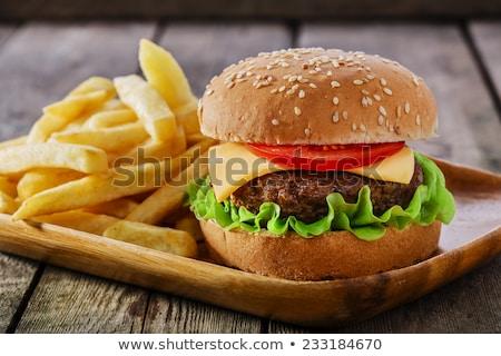 hamburger · sültkrumpli · sajt · paradicsom · Franciaország · háttér - stock fotó © FreeProd