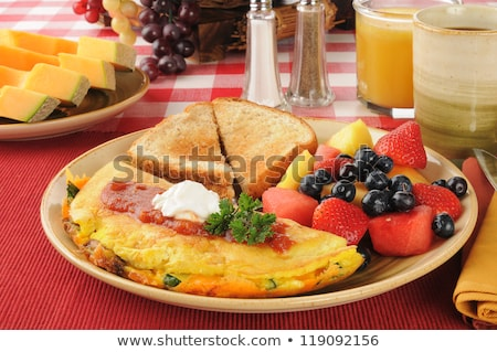 blueberry omelet and coffee Stock photo © M-studio