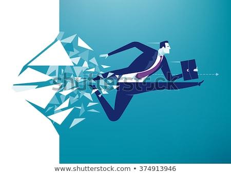 Motivação empresário troféu copo saltando livros Foto stock © RAStudio