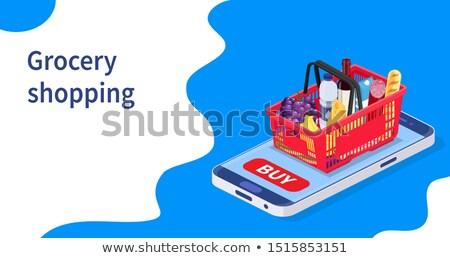 Isométrica supermercado mercearia edifício estacionamento Foto stock © tashatuvango