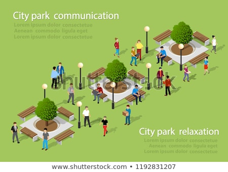students in park and people family set vector stock photo © robuart