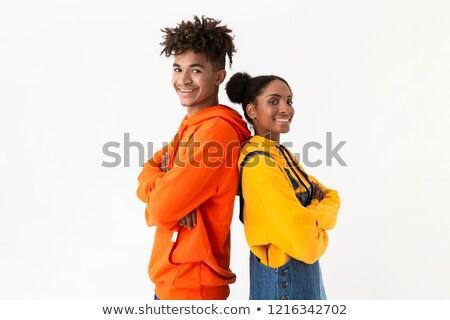 Foto sonriendo Pareja colorido ropa Foto stock © deandrobot