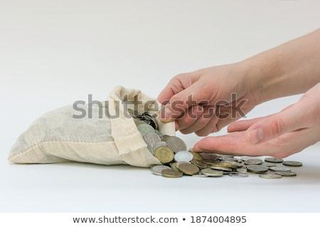 Abrir branco saco russo moedas Foto stock © mizar_21984