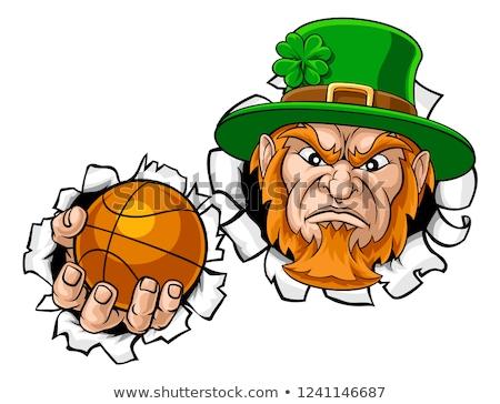 Leprechaun Basketball Mascot Ripping Background Stock photo © Krisdog