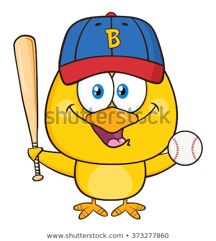 Yellow Chick Cartoon Character Holding A Baseball And Bat Stock photo © hittoon