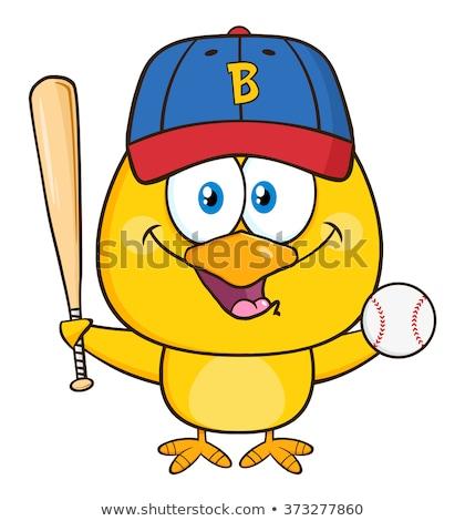 Citromsárga csirke rajzfilmfigura tart baseball ütő izolált Stock fotó © hittoon