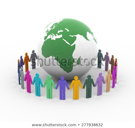 3d colorful different people around earth world globe stock photo © ribah