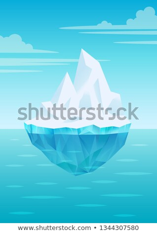 Iceberg floating on water waves with underwater part, bright blue sky with clouds, freshwater ice, g Stock photo © MarySan