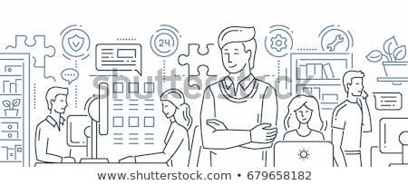 suporte · técnico · operador · sessão · secretária · trabalhando · computador - foto stock © decorwithme