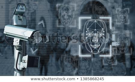 Cara reconocimiento digital tecnología azul futuro Foto stock © ra2studio