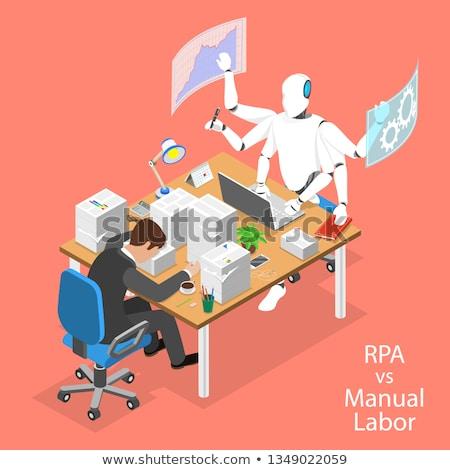 isometric flat vector concept of rpa vs manual labor stock photo © tarikvision
