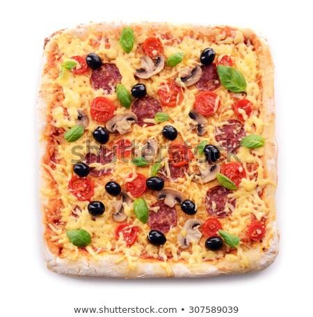 Stock fotó: Szeletel · tér · pizza · izolált · fehér · háttér