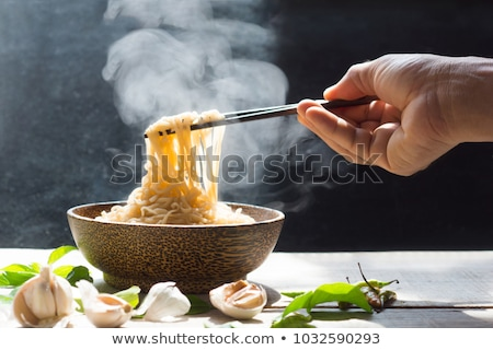 Instant noodles in white black on wood background  Stock photo © eddows_arunothai