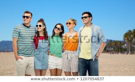 Boldog barátok ölel Velence tengerpart barátság Stock fotó © dolgachov