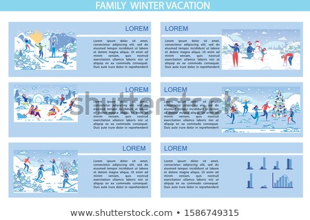 family sculpting snowman parents and child set stock photo © robuart