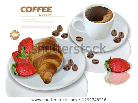 breakfast coffee croissant and macaroons vector realistic 3d detailed card menu template strawber stock photo © frimufilms