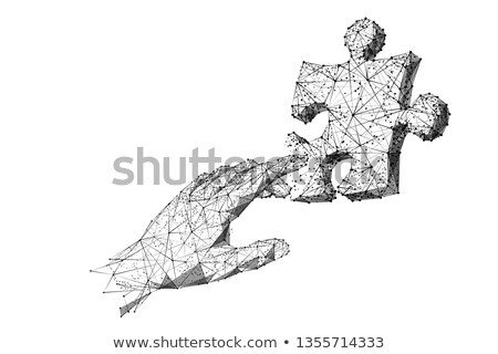Illustration of a pointing finger hand with a puzzle piece in ci Stock photo © kyryloff